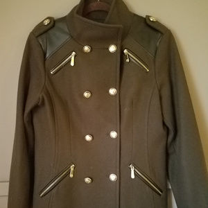 Vince Camuto, Olive Wool Military Pea Coat